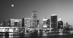 Miami: Moon Over It - black and white image